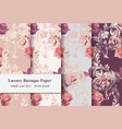 vintage rose flowers and baroque ornament pattern vector image