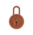 vintage round-shaped padlock with ornamental vector image