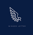 winged letter vector image