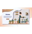 woman baking pie in kitchen home cooking website vector image vector image