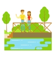 Young Couple Standing On The Bridge Watching The vector image vector image