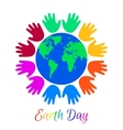 Kids palms around planet Earth vector image