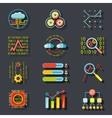 Data Analytic Web Site Server Icons on Stylish vector image