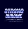 3d strong chrome font metallic font vector image vector image