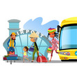 airport transfer public transport like bus happy vector image vector image