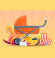 baby pram toys concept banner cartoon style vector image vector image