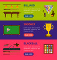 billiard game equipment banner horizontal set vector image vector image