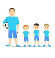 cartoon character kids football team vector image vector image