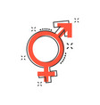 cartoon gender equal icon in comic style men and vector image