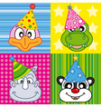 cartoon party animal icons collection vector image vector image