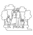 couple with children black and white vector image
