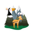 cute bird toucan with deer in the landscape vector image