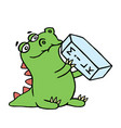 cute dragon is drinking milk isolated vector image vector image