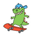 dolly cartoon dragon in a cap rides on a vector image