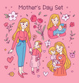 doodle kawaii style cute set with woman mother vector image