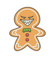evil grin christmas holiday ginger bread cookie vector image