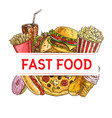 fast food drinks and dessert banner vector image vector image