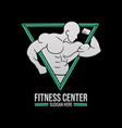 fitness gym man muscle center triangle logo vector image
