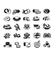 food meat seafood baked goods set of icons