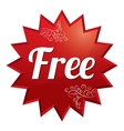 Free tag red round star floral sticker vector image vector image