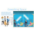 freelance working team in coworking space banner vector image vector image