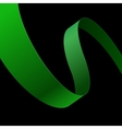 Green fabric curved ribbon on black background vector image