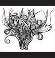 head bush of hair doodle vector image vector image