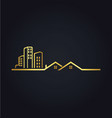 home building line cityscape gold logo vector image