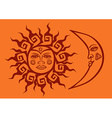 icon of tribal sun and crescent moon vector image