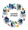 isometric internet security round concept vector image vector image