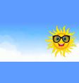 joyful sun in blue sky vector image