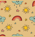 lovely seamless pattern with the hand-drawn sun vector image vector image