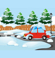 neighborhood scene with red car covered with snow vector image vector image