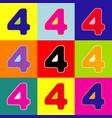 number 4 sign design template element pop vector image vector image