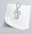 Paper clip treble clef vector image vector image