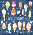 pattern colorful variety ice cream vector image