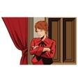 People retro style Girl near curtains in theater vector image vector image