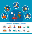 reading icons collection vector image vector image