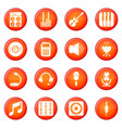 recording studio symbols icons set red vector image vector image