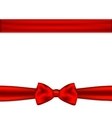 Red ribbon with bow on a white background vector image vector image