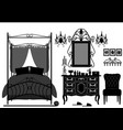 royal bedroom room old antique victorian vector image vector image