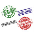 scratched textured legalize cannabis seal stamps vector image vector image