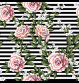 seamless pattern with pink roses leaves vector image