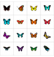 set of moth realistic symbols with papilio ulysses vector image