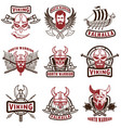 set of vintage viking labels viking warrior in vector image vector image