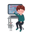 smiling boy sitting at laptop and learning coding vector image