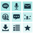 social icons set with letter video chat message vector image