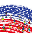 stylized American flag and children vector image vector image
