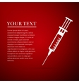 Syringe flat icon on red background Adobe vector image vector image