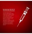 Syringe flat icon on red background Adobe vector image